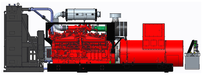 Side-on view of the Cummins QSK50 land-based drilling module, EPA Tier 4F-compliant